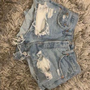 Pair of Levi 501 denim light wash shorts